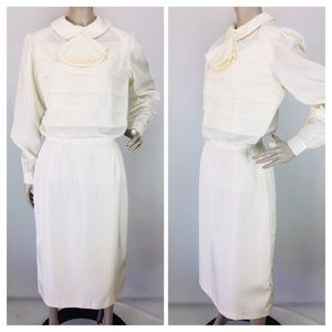 VTG Taffeta Ivory Skirt & Tiered Blouse 2 Pc. Set